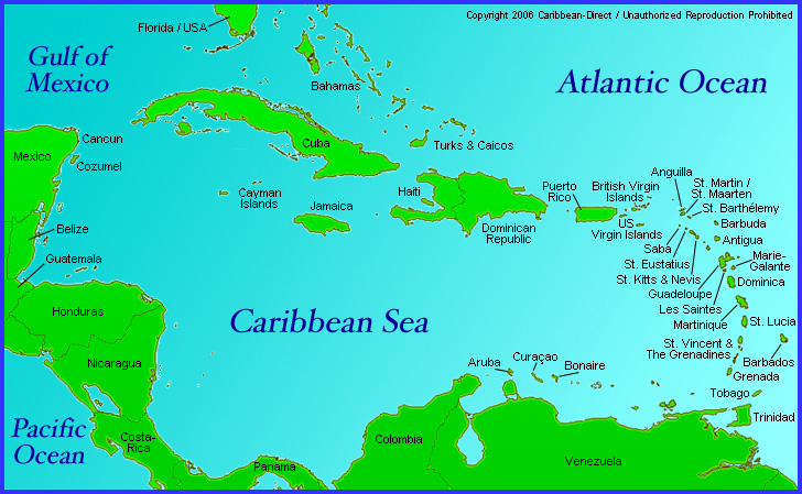Caribbean - Map of the carribean